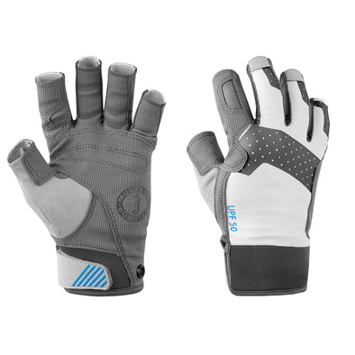 Mustang Traction Open Finger Glove - Light Gray/Blue - Medium