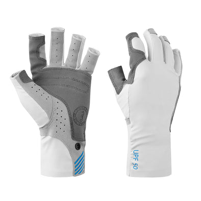 Mustang Traction UV Open Finger Fishing Glove - Light Gray/Blue - X-Large