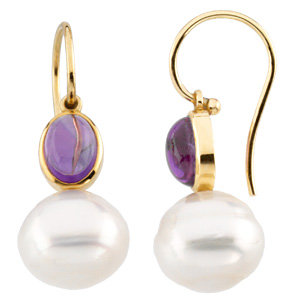 14K Yellow 8x6mm Cabochon Amethyst & 11mm South Sea Cultured Circle Pearl Earrings
