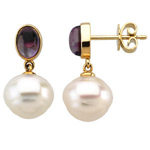 14K Yellow 8x6mm Amethyst & 12mm South Sea Cultured Pearl Earrings