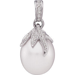 18 Palladium White South Sea Cultured Pearl & 1/4 Diamond Carats Pendant