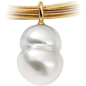 18K Palladium White South Sea Cultured Pearl Pendant