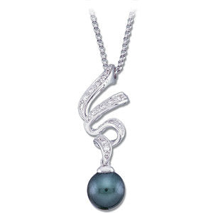 14K White 1/5 Diamond Carats & 8mm Tahitian Pearl Necklace