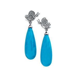14K White 1/6 Diamond Carats & Turquoise Ocean Drop Earrings