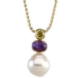 14K White South Sea Cultured Pearl, Peridot & Amethyst Pendant
