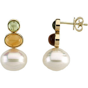 South Sea Cultured Circle Pearl, Genuine Peridot & Genuine Citrine Earrings