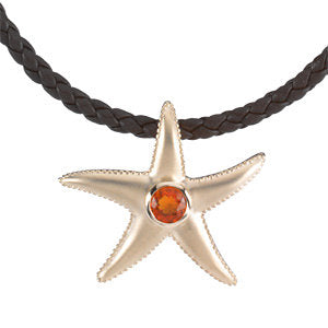 14K Yellow Mexican Fire Opal Starfish Pendant