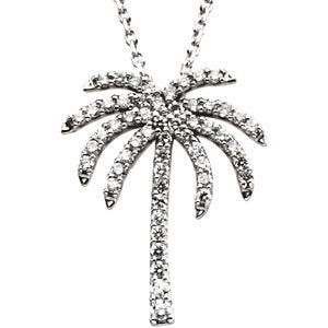 14K White 1/3 Diamond Carats Palm Tree 16-inch Necklace