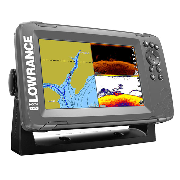 "Lowrance HOOK²-7 7"" Chartplotter/Fishfinder SplitShot Transom Mount Transducer w/Built-In US Inland Charts"