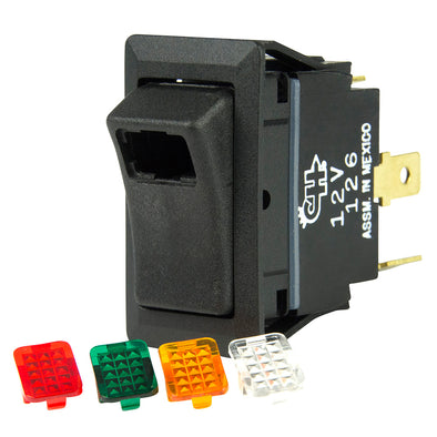 BEP SPST Rocker Switch - 1-LED w/4-Colored Covers - 12V/24V - ON/OFF
