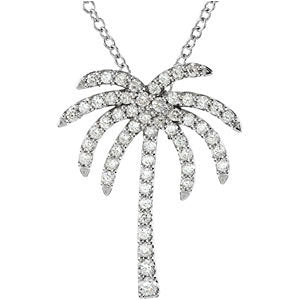Platinum 1/3 Diamond Carats Palm Tree 16-inch Necklace