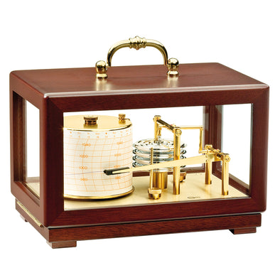 BARIGO Barograph Recording Instrument - Brass & Mahogany - Solid Top w/Handle