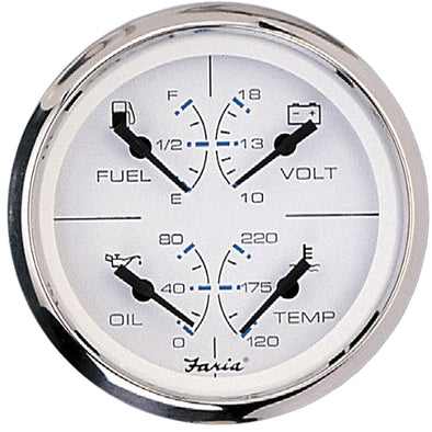 "Faria Chesapeake SS White 4"" Multifunction 4-in-1 Combination Gauge w/Fuel, Oil, Water & Volts"