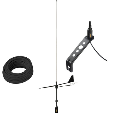 Glomex Black Swan VHF Antenna w/Wind Indicator & 66' Coax Cable