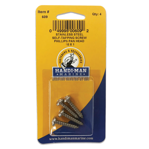 Handi-Man Stainless Steel Phillips Self Tapping Pan Screw - 10 x 1