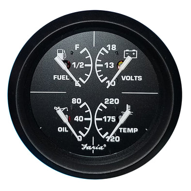 "Faria 4"" 4-in-1 Multifunction Gauge - Voltmeter (10-16) Fuel Level - Oil PSI (80 PSI) - Water Temp (100-250F)"