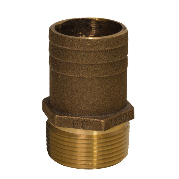 "GROCO 1"" NPT x 1-1/8"" Bronze Full Flow Pipe to Hose Straight Fitting"