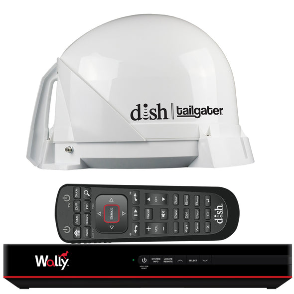 KING DISH® Tailgater® Satellite TV Antenna Bundle w/DISH® Wally® HD Receiver & Cables