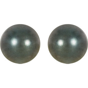 14K Palladium White 8mm Round Tahitian Cultured Pearl Earrings
