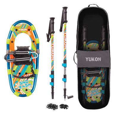 "YUKON Sno-Bash Youth Showshoe Kit 7"" x 16"" - 100lbs Weight Capacity w/Snowshoes, Poles & Travel Bag"