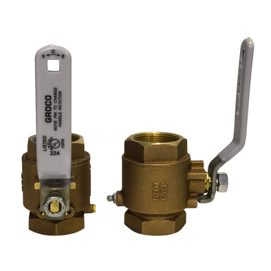 "GROCO 3/4"" NPT Bronze In-Line Ball Valve"