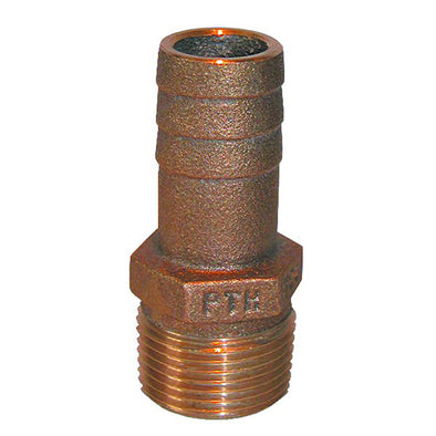 "GROCO 1-1/4"" NPT x 1-1/8"" ID Bronze Pipe to Hose Straight Fitting"
