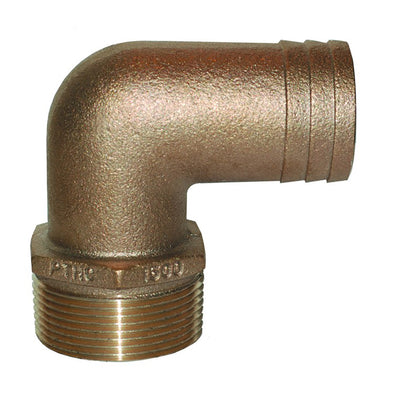 "GROCO 1-1/4"" NPT x 1-1/4"" ID Bronze 90 Degree Pipe to Hose Fitting Standard Flow Elbow"