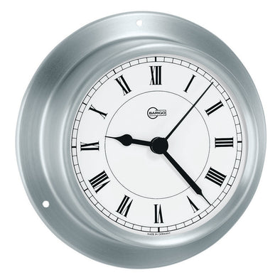 "BARIGO Sky Series Quartz Ship's Clock - Brushed Stainless Steel Housing - 3.3"" Dial"