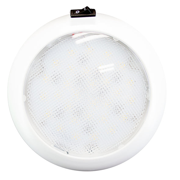 "Innovative Lighting 5.5"" Round Some Light - White/Red LED w/Switch - White Housing"