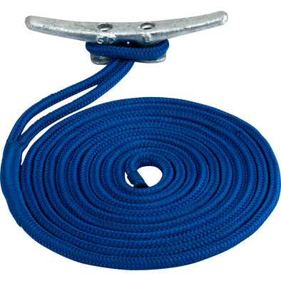 "Sea-Dog Double Braided Nylon Dock Line - 3/8"" x 25' - Blue"