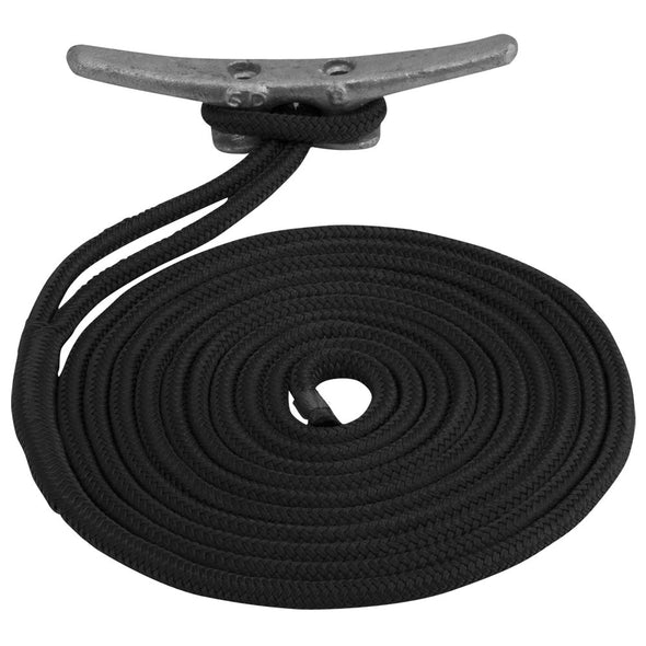 "Sea-Dog Double Braided Nylon Dock Line - 1/2"" x 20' - Black"