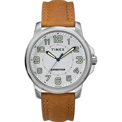 Timex Men's Expedition® Metal Field Watch - White Dial/Brown Strap