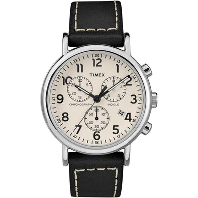 Timex Men's Weekender® Chronograph 40mm Watch - White Dial/Black Leather Strap