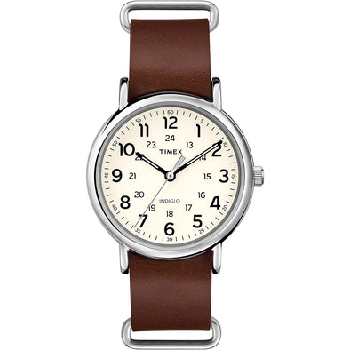 Timex Weekender® Slip-Thru - Brown Leather Strap