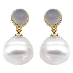 South Sea Cultured Pearl & Chalcedony Earrings