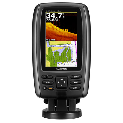Garmin echoMAP™ 44dv U.S. Offshore Fishfinder/GPS Combo w/BlueChart® g2 & 77/200 HD-ID/DownVü™ Transducer - Brown Box
