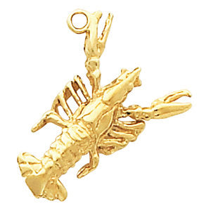 10K Yellow 23x14mm Crawfish Charm