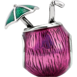 Sterling Silver 13.6x8.6mm Tropical Drink Bead