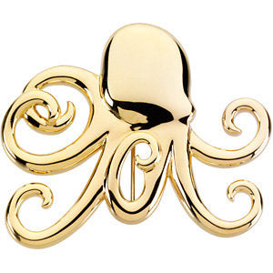 14K Yellow Octopus Brooch