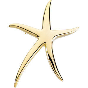 14K Yellow Starfish Brooch / Pendant