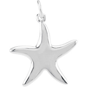 14K White 25mm Starfish Dangle