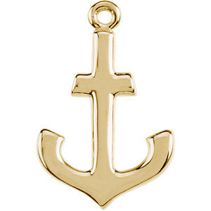 14K Yellow Petite Anchor Dangle