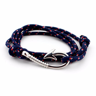 Ocean Life Fish Hook Bracelet - Color: Silver dark blue
