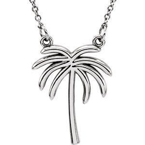 14K White Palm Tree 16-inch Necklace