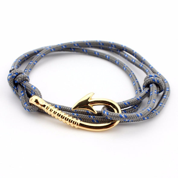 Ocean Life Fish Hook Bracelet - Color: Gold gray