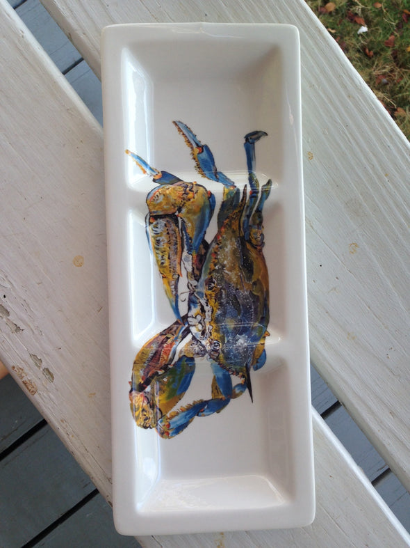Big Blue Crab Custom Rectangular Tri-Dish