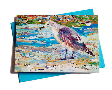 Old Bird at the Beach Note Card