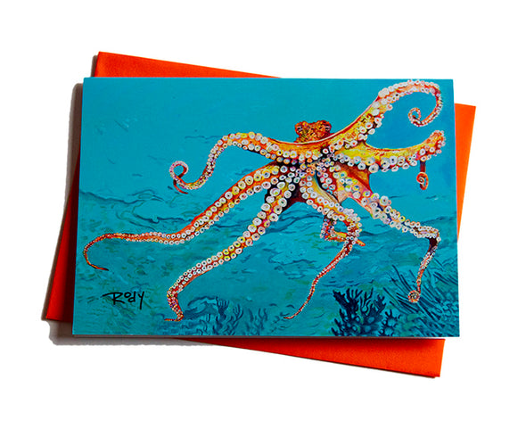 Out of the Blue Octopus Note Card
