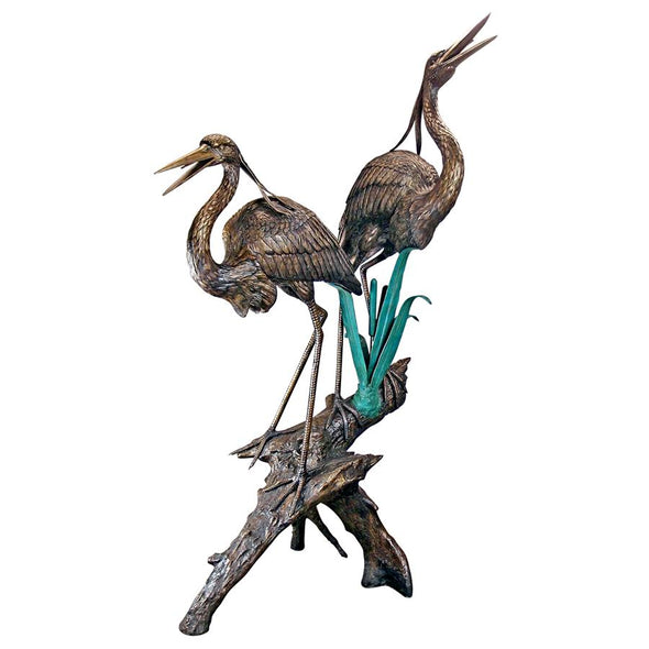 Two Herons On A Log Cast Bronze Garden Statue