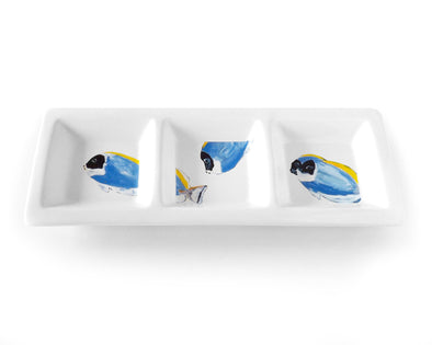 Powder Blue Tangent Triptych Rectangular TriDish